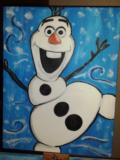 Meet Olaf- everyones favorite snowman who loves warm hugs and dreams of experiencing Summer! Welcome this heart-warming guy from Disneys Frozen into your home and I know hell make you smile. The above photo is an 18x14- other sizes and characters are available upon request. I love painting custom images, so if you have something else in mind let me know