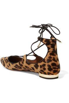 Aquazzura - Christy Leopard-print Calf Hair Point-toe Flats - Leopard print - IT36.5