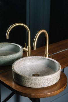 Handmade ceramic basins by Tasmanian ceramicist Lindsey Wherrett. Cuba, Ceramic Sink, Basin Sink, Cafe Interior, Mid Century House, Pottery, House Design, Ceramics, Sculpture