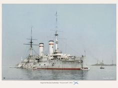Russian battleship Tsesarevich, in Baltic 1913. Note classic white scheme with cap bands.  These were the salad-days of her life.