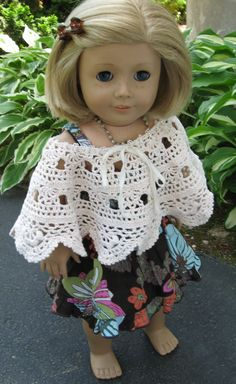 A Doll for all Seasons - sundress from thrift store infant dress and poncho from a doily