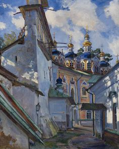 Sergei Vinogradov (Russian, 1869-1938), The Belfry and Cupola of the Uspensky Cathedral of the Pskovo-Pechersky Monastery, 1928.