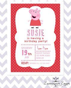 Peppa Pig invitation Peppa pig birthday by PaperPartyDesign