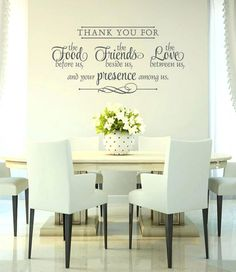 Vinyl Wall Decal – Thank You Wall Decal – Bless the Food Before Us – Dining Room… - All About Decoration Wall Stickers Dining Room, Dining Room Wall Decor, Dining Room Design, Vinyl Wall Decals, Kitchen Decor, Room Decor, Dining Rooms, Dining Room Quotes, Vinyl Wall Quotes