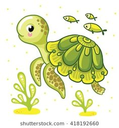 Illustration of Cute cartoon turtle isolated. Turtle and fish on a white background, vector illustration. vector art, clipart and stock vectors. Turtle and fish on a white background,. Cute Cartoon Drawings, Art Drawings For Kids, Cute Animal Drawings, Drawing For Kids, Easy Drawings, Art For Kids, Cute Turtle Drawings, Easy Cartoon, Drawing Step