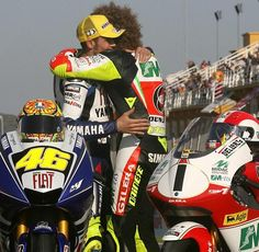 Vale and Marco, showing what great friends they were.  RIP Marco.
