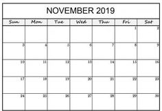 November 2019 Printable Calendar Word - Free Printable Calendar, Templates and Holidays Calendar Templates, Free Printable Calendar, Free Printables, Word Free, 2021 Calendar, November 2019, Holidays, Words, Holidays Events