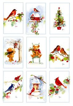 christmas watercolor miniatures: