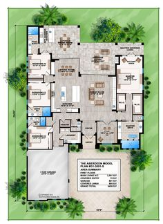 Aberdeen Contemporary Floor Plan The Aberdeen Contemporary floor plan features 4 bedrooms, 4.5 baths, 1 floor and a 3 car side entry garage. Other comfort