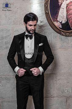 Traje de novio frac italiano a medida negro en tejido ligero new performance, modelo 1214 Ottavio Nuccio Gala colección Black Tie 2015.