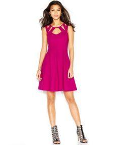 8188588f799 Betsey Johnson Cutout Box-Pleat Dress   Reviews - Dresses - Women - Macy s