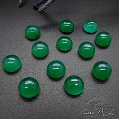 1pcs AAA 8mm Green Onyx Round Shape Cabochon Smooth by AoryNL