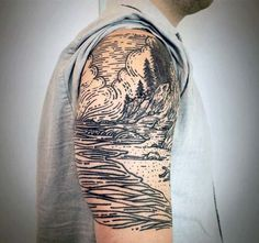 Guys Nature River Woodcut Half Sleeve Tattoo Ideas