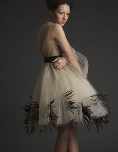 """One of the most """"new"""" and popular lines the Middle East is buzzing about is Ashi Couture. A young Saudi designer Mohammed Ashi started this . Ashi Studio, Feather Fashion, Tulle Lace, Here Comes The Bride, Tutu, Ballet Skirt, Glamour, Style Inspiration, Fashion Outfits"""
