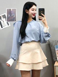 마리쉬♥패션 트렌드북! Cute Korean, Korean Style, Korea Fashion, Dress Outfits, Dresses, Fashion Sketches, Mini Skirts, Classy, Womens Fashion