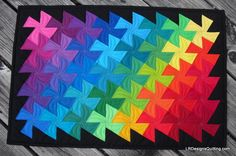 Rainbow Lil' Twister quilt by Linda at LR Designs Quilting