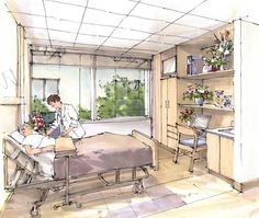 rendering techniques a renderings illustration the renderings . Interior Rendering, Interior Sketch, Interior Architecture, Posture Drawing, Architectural Signage, Architectural Drawings, Hospital Design, Elderly Home, Perspective Drawing