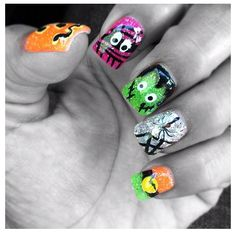 Halloween acrylic nails by Jeanine L.
