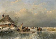 Andreas SCHELFHOUT (Nederlands kunstenaar, 1787-1870): Winterlandschap