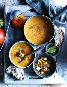 Pumpkin soup with tomato, corn and coriander salsa by Sarah Randell