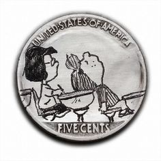 Peppermint Patty and Marcie#363 Hand Engraved  Hobo Nickel  by Luis A Ortiz