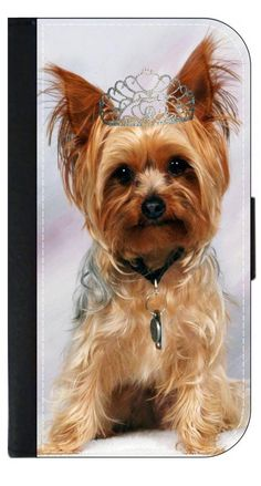 Yorkie with a Crown- Wallet Case for the Apple Iphone 6 PLUS only Universal with a Flap Cover and Magnetic Closing Flap-PU Leather and Suede. Fits the Iphone 6 PLUS only. High Quality Leather-Look Wallet Case with a flap cover and credit card slots. Bold, Clear and Everlasting Flat Image. Quick Shipping. Great customer service! Satisfaction Guaranteed!.