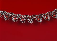 Red cubic zirconia bracelet, heart shape cz stones, white gold plated