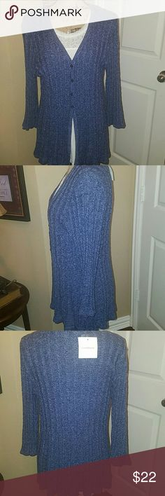 Gorgeous Denim Blue Cardigan Sweater This is a beautiful Croft & Barrow cardigan sweater that has a beautiful rib material and the bottom of the sweater is just beautiful. It buttons three fourths of the way down and then has an opening.. I have it's shown with a lace Cami just to show how beautiful it is with a shell underneath. Will be a great piece added to your wardrobe for dress or casual. Brand new with tags. croft & barrow Sweaters