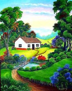 A 80 pieces jigsaw puzzle from Jigidi Beautiful Nature Wallpaper, Beautiful Paintings, Easy Canvas Painting, Canvas Art, Landscape Art, Landscape Paintings, Art Et Nature, Scenery Paintings, Cottage Art