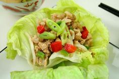 Asian Ground Chicken Cups  Chicken dish can also to salad greens