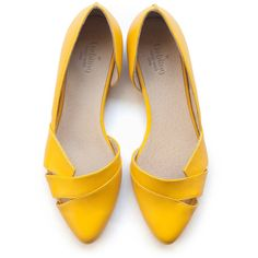 Sale 25% off! Yellow flats, women shoes, yellow shoes, handmade... (41.480 HUF) ❤ liked on Polyvore featuring shoes, flats, leather shoes, leather footwear, narrow shoes, real leather shoes and flat pump shoes