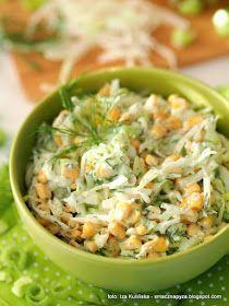 surowki, biala kapusta, surowka kapusciana, kukurydza, por, sos jogurtowy, majonez, dodatek do obiadu, warzywa, surowka smakolyk