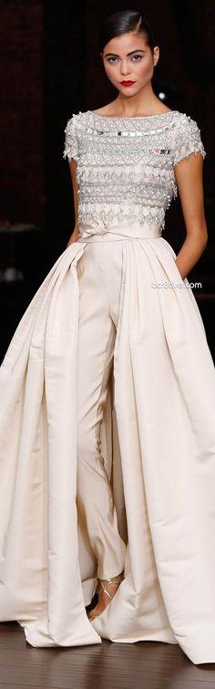 Naeem Khan Resort 2014 - I've always loved this look of a full gown skirt over slim trousers.
