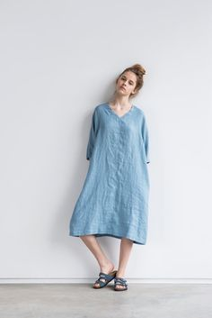 Swedish blue linen tunic/dress. Washed linen kimono tunic. Oversize linen dress. V neckline linen dress