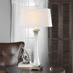 Master bedroom Uttermost Vella Silver Champagne Lamp