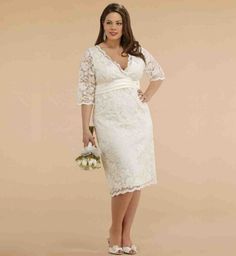 Satin Wedding Dresses Empire V-Neck Tea Length Lace Satin Plus Size Wedding Dress/ Half Sleeves Reception Bridal Dress for Spring Plus Size Wedding Dresses With Sleeves, Second Wedding Dresses, Lace Wedding Dress, Half Sleeve Dresses, Tea Length Wedding Dress, Tea Length Dresses, Plus Size Dresses, Bridal Dresses, Half Sleeves
