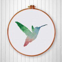 Geometric Hummingbird cross stitch pattern Modern by ThuHaDesign
