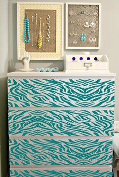 Zebra stipes DIY Drawer front wall mural decal.....turquoise zebra dresser chest high boy tall boy!!!!! this would be perfect for a decorated walk in closet