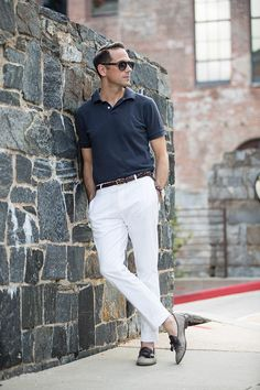 A simple but stylish summer look featuring a polo shirt and white cotton chinos…