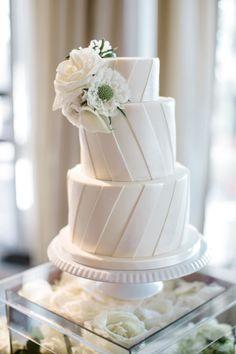 All White Wedding Cake - Almost Too Pretty To Eat via Style Me Pretty