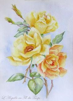 helen stevens embroidery | Aiguille au Fil du Temps: Quelques roses à l'aquarelle