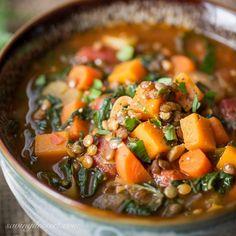 Vegetable Soup with Lentils and Seasonal Greens www.savingdessert.com