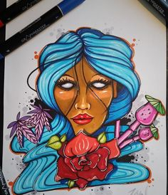 Wow! Check this awesome drawing of a colourful woman by @hoku_one. Use #graphmastermarker for a chance to get featured.