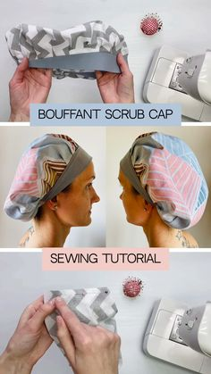 Scrub Hat Patterns, Hat Patterns To Sew, Sewing Basics, Sewing For Beginners, Diy Sewing Projects, Sewing Tutorials, Ribbon Embroidery Tutorial, Smocking Patterns, Sewing To Sell