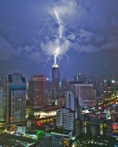 Lightning strike in downtown Bangkok. Photo by Mike Behnken.