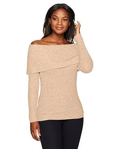 14dcdeee890c15 Lark & Ro Women's 100% Cashmere Off the Shoulder Sweater, Wheat, Extra Small