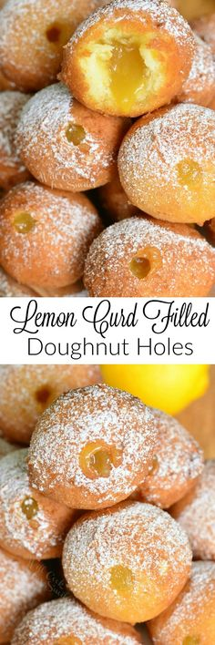 Super easy, no yeast doughnut holes made with … Lemon Curd Filled Doughnut Holes. Super easy, no yeast doughnut holes made with a touch of lemon zest and then filled with tangy lemon curd. Lemon Desserts, Lemon Recipes, Köstliche Desserts, Sweet Recipes, Dessert Recipes, Lemon Curd Dessert, Donut Recipes, Baking Recipes, Fry Donuts Recipe