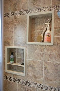 Luxury Bathroom Master Baths Rustic is definitely important for your home. Whether you pick the Small Bathroom Decorating Ideas or Small Bathroom Decorating Ideas, you will make the best Luxury Bathroom Master Baths Wet Rooms for your own life. Tile Shower Niche, Bathroom Niche, Bathroom Layout, Bathroom Interior Design, Bathroom Ideas, Small Bathroom, Master Bathroom, Tuscan Bathroom, Bath Tiles