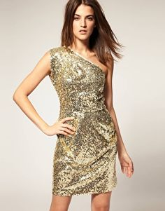 WAREHOUSE sequin one shoulder dress $106 mini party dress #fashion #holiday #outfit #new year #clothes #dress #style #stylish #gold #glitter #sexy #club #clubwear #asymmetric