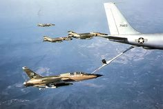 """fcba: Phantom II's wait their turn as a refuels an Wild Weasel over North Vietnam in (US Air Force) """" North Vietnam, Vietnam War, Air Vietnam, Military Jets, Military Aircraft, Fighter Aircraft, Fighter Jets, First Indochina War, Us Navy Ships"""